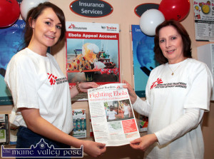 Tralee Credit Union's Castleisland branch office staff members, Fiona Madden (left) and Phylis Healy highlighting the Ebola Appeal Account at the Main Street office on Thursday afternoon. ©Photograph: john Reidy