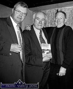 The late Johnny O'Leary (right) with  Eamon Kelly RIP and  Donal Hickey  on the occasion of the launch of Donal's book 'Stone Mad For Music' at Dan O'Connell's pub in Knocknagree.  ©Photograph: John Reidy 20-11-1999