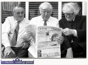 Knocknagree publican, Dan O'Connell (left) pictured with Ciarán Mac Mathúna and Breanndán Breathnach at the opening of the Denis Murphy Memorial Centre in Gneeveguilla in 1983. God be good to them all. ©Photograph: John Reidy 9-8-1983