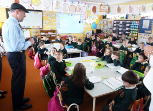 Top of the Class: Michael Healy Rae, TD. with his captive audience at Scartaglin National School on Monday during their 'Spás le Fás' appeal.