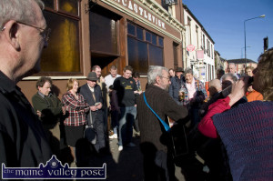 Celebrating a fine day: Listowel based, singer / song writer, Mickey MacConnell getting the singing session off to a great start with an open air rendition outside Hartnett's Bar at the 2012 Patrick O'Keeffe Traditional Music Festival in Castleisland.   ©Photograph: John Reidy 26-10-2012