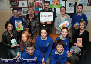At the launch of the Castleisland Community College Readathon on Thursday were, front: Liam Moloney (left) and Seán Butler. Second row from left: Elizabeth Nolan, MS Ireland campaigner; Ruth Borgeat, Katelyn Nolan, Denise Crowley and Carmel Kelly, college principal. Back row: Anne Marie Steel, Teresa Lonergan, college deputy principal; Justin Bennett and Juanita Lovett, teachers and Simon Dunleavy. ©Photograph: John Reidy