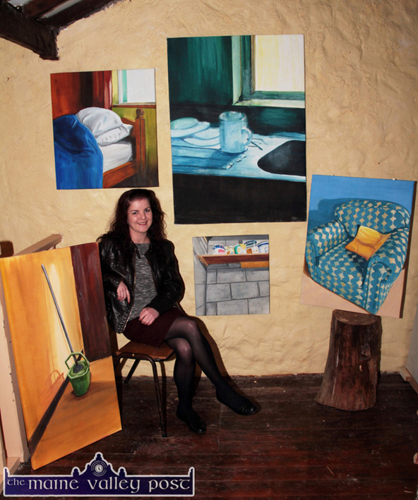 Pictures from a Exhibition: Artist, Rachel Gallagher pictured with a collection from her 'Home Comforts' first solo exhibition which opens at the Ivy Leaf Art Centre tonight at 7-30pm.  ©Photograph: John Reidy