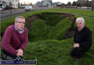 Cllr. Bobby O'Connell (left) and resident, Charlie Farrelly pictured at Cahereen Heights on the day of the collapse. ©Photograph: John Reidy 22-11-2014
