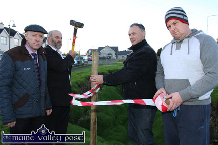Putting down a marker: Michael Healy Rae, TD (left) pictured with his brother, Danny with Cahereen Heights residents, Martin Conway and Kevin Moran cordoning off the collapsed area on Saturday morning. ©Photograph: John Reidy 22-11-2014