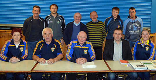 Members of Cordal GAA Club who were elected at the club AGM on Friday night. Front from left: Brid Wrenn, assistant treasurer; Charlie Farrelly, treasure; Tom Wrenn, chairperson; Richard O'Donoghue, club secretary and Nora Fealey, PRO. Back from left: Joe O'Connor, Coiste na nÓg chairperson; Niall Ó Ciardubháin, assistant PRO; Jimmy Roche, assistant secretary; Diarmuid Ó Ciardubháin, vice chairperson, Seán Óg Ó Ciardubháin and Michael O'Sullivan, children's officer.