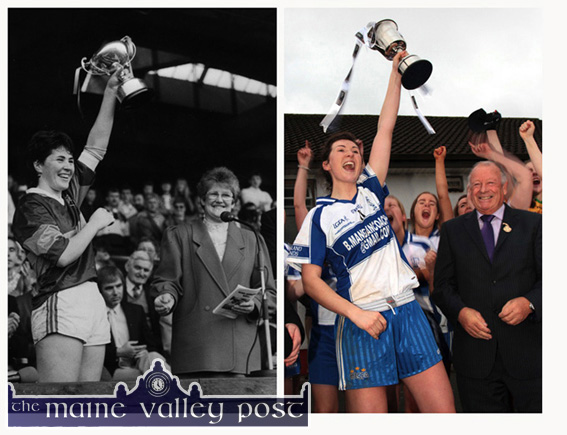 Leaders of the Packs: Mary Lane in Croke Park in October 1988 and her daughter, Lorraine Scanlon in Corofin in November 2014. ©Photographs: John Reidy 16-10-1988 & 29-11-2014