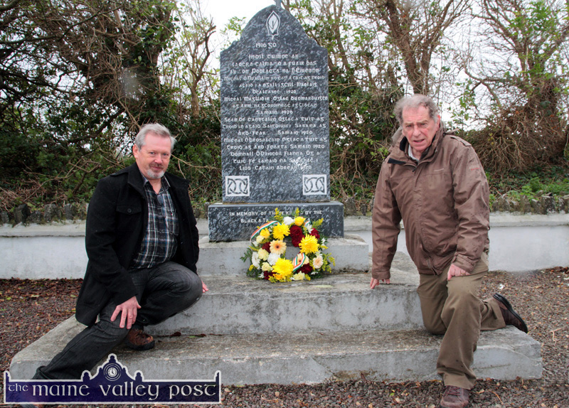 Patrick O'Leary, Glountane (left) and Éamonn Breen, Castleisland pictured after they placed a wreath at the monument in Ardfert on which the death of Castleisland native Michael C. Brosnan, at the hands of British forces on November 7-1920 is commemorated. ©Photograph: John Reidy 7-11-2014