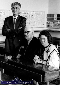The history of the school: The late Michael O'Donohoe, NT pictured with his father, Matt and sister Breda Brooks on the day of his retirement from Castleisland Boys' National School in September 1991.  ©Photograph: John Reidy 30-9-1991