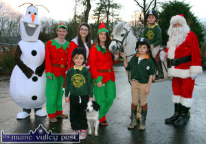 Santa popped into this photograph of a group at Crag Cave looking forward to Christmas and beyond to the end-of-year Gymkhana at the Woodlands Equestrian Centre on December 30th.Included are:  Olaf aka Thomas McNally with: Neil Brosnan, Kate Cronin, Joanne Browne with Ciara, Conor and Jack Geaney with pony 'Princess' and 'Dotty' the dog. © Photograph: John Reidy