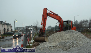 Duffy Contractors machinery at work on the Cahereen Heights estate on Monday. Work on the making good of the estate there is expected to be completed by Easter. ©Photograph: John Reidy