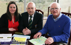 Castleisland Members' Golf Club secretary. Mairéad Guirey pictured with outgoing club captain, John O'Connell and Ciaran Fleming back in April of this year. ©Photograph: John Reidy 11-4-2014