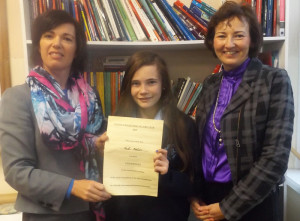 Highly Commended Poet, Nell Nolan pictured with her English teacher, Joan McElligott (left) and Principal, Katerina Broderick.