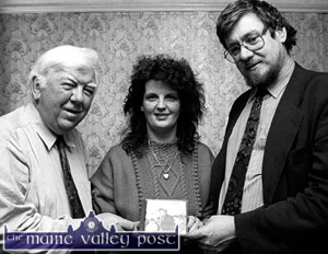 Peter Browne,  pictured at the first Patrick O'Keeffe Traditional Music Festival during the launch of a CD of O'Keeffe's music at The Crown Hotel with festival president, Mary Jones and the late Dr. Ciarán MacMathúna.  ©Photograph: John Reidy 24/10/93