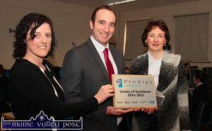 Billy Breen, Regional Manager with Prodigy Learning presenting the Prodigy  Learning Centre of Excellence Award for 2014-2015 to Anette Leen (left) and Katerina Broderick at St. Joseph's Presentation Girls' Secondary School, Castleisland on Wednesday morning. Ms. Leen and Ms. Broderick are: teacher and principal respectively at the long established and highly respected school. ©Photograph: John Reidy 10-12-2014