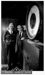 One last look: Conor O'Mahony of JK O'Connor's (left) and James Lyons pictured in the old weigh-bridge hut just before it was demolished to make way for the new road structure at the Back-of-the Forge. ©Photograph: John Reidy  22-10-1993.