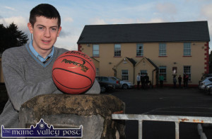 Castleisland's latest Basketball International player, Adam Donoghue outside St. Patrick's College as he looks forward to August and the European Championships in Sofia. ©Photograph: John Reidy 6-1-2015