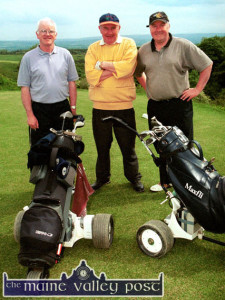 Historic Day: Local golfers out on the new Castleisland course for opening day on Saturday afternoon, from left: Ciaran Fleming, Pats O'Donoghue and Donal Nelligan.  ©Photograph: John Reidy  1-6-2002