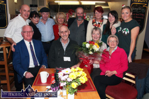 Friends and supporters of the Healy Rae political machine pictured at a special breakfast sitting at Pat's Cafe, Killarney Road, Castleisland on Christmas Eve just gone. Included are front: Dan Cremins, Bernard and marian Collins and Noreen Brosnan. Back row: Patrick and Lynn Collins, Pat's Cafe;  Micheal Healy Rae, TD; Ellen Barry-Lynch, Danny Healy Rae, MCC Mary Horan, Aisling Collins and Sharon Lynch. ©Photograph: John Reidy 24-12-2014