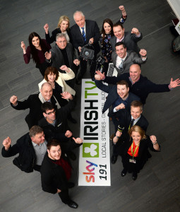 Minister for the Diaspora, Jimmy Deenihan TD pictured at the launch of Irish TV's new Munster Regional Hub in Tralee this morning. With Minister Deenihan are:  John Griffin, chairman, Irish TV; Lyn Moloney presenter;   Fiona O'Sullivan presenter;  Brian Hurley Munster Regional Hub manager, Irish TV with IrishTV crew members at Kerry Technology Park.  Photo By : Domnick Walsh / Eye Focus LTD ©