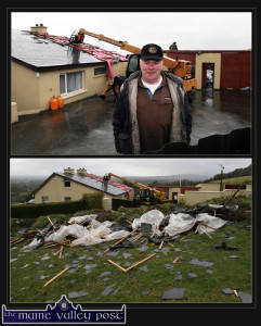 Flashback to February: Martin Murphy pictured outside his home in Laccabawn as repair work gets under way. Below: the remains of the roof with concrete barges dropped inside a ditch, across the road during the storm of February 12th 2014. ©Photographs: John Reidy 14-2-2014