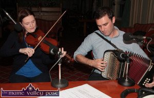 Husband and wife musical team, Aoife Ní Chaoimh and Paudie O'Connor playing at thelaunch of the 2014 Patrick O'Keeffe Traditional Music Festival at the River Island Hotel. ©Photograph: John Reidy 24-10-2014