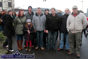 Locals, Cateriona O'Brien (left) pictured with: Eileen and Kate Elizabeth Carty, Daniel Walsh, Denis Nolan, Eamon Hewitt, Peter Carty, Neil Hewitt and Johnny Broderick  at the  Right2Water protest march in Castleisland this afternoon. ©Photograph: john Reidy