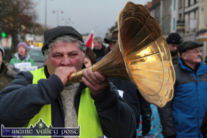 Michael O'Leary from Newmarket during his guest appearance at the Right2Water Castleisland protest march on January 17th. ©Photograph: John Reidy