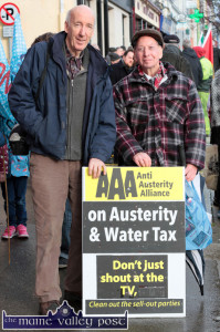 Balladeer, Tom O'Donovan from Tarbert (right) pictured with  Joe Harrington, Lyreacrompane (left) at the Right2Water protest march in Castleisland on Saturday. ©Photograph: John Reidy