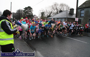 Darragh Curtin getting the runners on their way at the start of the Run Rudolph Run 5K Charity event in honour of Darragh's late father, Donal Curtin this time last year. ©Photograph: John Reidy 14-12-2014