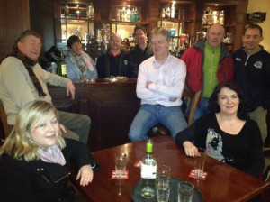 Zyber Theatre / CrissCross cast members in rehearsal. Front: Aoife Ni Chonchubhair, and Mags Slattery. Back : John Fraher, Mary Mills, Rory O' Mahony, Raphael Crowley, Eoin Nolan, John Patton and George Lowe.