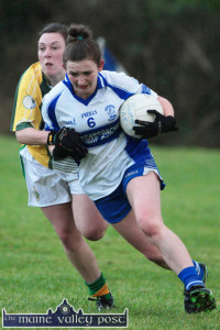 Desmonds and Kerry defender and captain, Cáit Lynch seen here in action against, Southern Gaels corner-back and captain, Cecilia O'Sullivan. Cáit will lead the Kerry team onto her local pitch against Laois at 2pm today.  ©Photograph: John Reidy