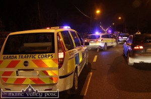 Garda and emergency vehicles at the scene of the accident in Abbeyfeale tonight. ©Photograph: John Reidy 10-2-2015