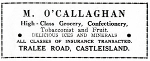 O'Callaghan's Shop Advert from the 1950s.