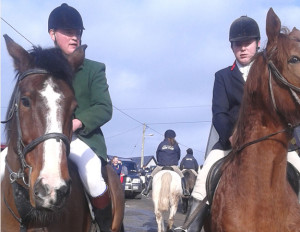 Fred O'Connor huntsman (left) and his brother and club Chairman, Timmy in Scartaglin on Sunday.