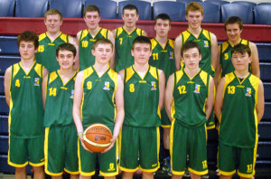 The St. Patrick's U16 'A' Basketball team through to the All-Ireland final. Front from left: Shay Walsh, Alejandro Canals, Jack Flynn, Sean Horan, Sean Brosnan and David Riordan. Back from left: Jack Scanlon, Kieran Enright, Adam Donoghue, Eddie Horan, Patrick O'Connor and Pádraig Broderick.