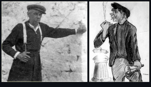A photograph of the Bellman, Mikey Conway in Pound Road in the late 1940s and a caricature of him in action by local artist, Timmy 'Mutt' Murphy with the landmark fountain in the background.