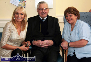 The late Jack O'Callaghan pictured at Castleisland Day Care Centre with his famous neice, Miriam O'Callaghan and facility nurse/manager, Marcella Finn during a visit by Miriam in 2012. ©Photograph: John Reidy 10-2-2012