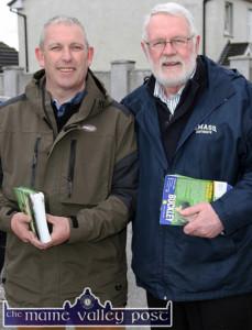 Martin Ferris, TD canvassing ahead of last year's Kerry Council Elections in Castleisland with newly elected Sinn Féin PRO, John Buckley, Killarney. ©Photograph: John Reidy