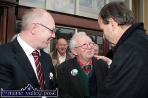 Former Kerry boxing champion, Liam Brassil (centre) pictured with his nephew, Cllr. John Brassil greeting new Fianna Fáil leader Micheál Martin on his arrival in Castleisland in the run up to the 2011 general election.  ©Photograph: John Reidy 12-2-2011