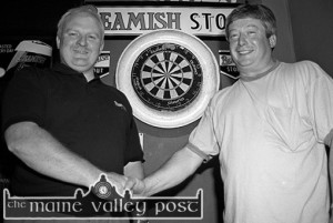 Rival captains: Mike O'Sullivan, The Fountain Bar (left) and John J. Horan, The Greyhound Bar doing their meeting and greeting photograph before the 1997 Beamish & Crawford Castleisland Town League Darts final at The Fountain Bar ©Photograph: John Reidy 10-6-1997