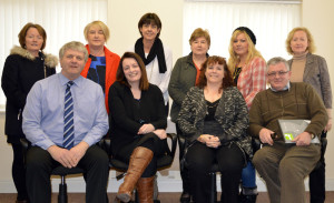 Information morning organisers include front from left:  Tony Curran, Department of Social Protection;  Deirdre Fitzgerald, Kerry Eduction & Training Board;  Margaret O'Sullivan and Joe Moynihan FAS CE supervisors.   Back from left: Bridie Dillon, Island Crown CE supervisor;  Miriam Ryan, Employability;  Liz Galway, Castleisland  Family Resource Centre;  Margaret Daly and Jennifer O Sullivan, NEKD and Margaret O Connor, Crageen Community Employment supervisor.
