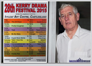 Kerry Drama Festival director, Jerome Stack with the nine-night list of plays for this year's event which opens on this Friday night, March 6th. ©Photograph: John Reidy