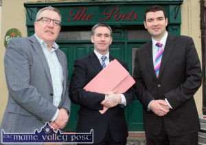 Cllr. Bobby O'Connell (left) with Damien English, Minister of State at the Departments of Education and Skills and Jobs, Enterprise and Innovation and Brendan Griffin, TD during a recent brief visit by the minister to Castleisland. ©Photograph: John Reidy