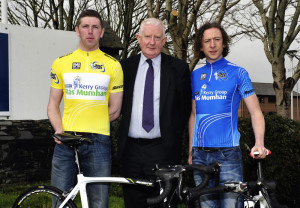 At the Kerry Group  RÁS Mumhan launch were: Frank Hayes, Director Corporate Affairs Kerry Group with Brendan O'Sullivan and Michael O'Shea of the Killorglin Cycling Club. Photograph: Courtesy of the Race Organisation