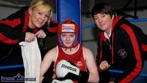 In the female corner: Boxer, Saoirse Kelly pictured with club officers, Jennifer O'Sullivan-Coffey (left) and Carmel O'Connell. ©Photograph: John Reidy