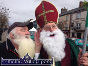 Christ man that's Frightening: Duagh native, Gabe McCarthy 'confessing' to St. Patrick aka Joe Martin after the winding down of the huge St. Patrick's Day Parade in Castleisland last year. ©Photograph: John Reidy