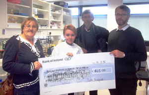 Twelve-year-old Ruth Borgeat, from Scartaglin is pictured at the Cancer Research Centre with her parents Mary and Gerald and Dr Mark Tangney, Principal Investigator with Breakthrough Cancer Research.