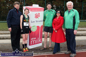 2014 Senior 10 Miler race winners: Caitriona Barry, Farranfore Maine Valley AC and Tim O'Connor, An Riocht AC pictured with Teresa Walker, Lee Strand and An Riocht AC officials: William Dennehy (left) and Joe Walsh after the An Riocht AC / Lee Strand Kingdom Come 10 Miler Road Race in Castleisland  ©Photograph: John Reidy  11-5-2014