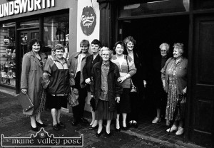 The late Norr Devereux (fourth from left) pictured with fellow local players waiting for the Killarney Bingo bus  outside The Poet's Inn in 1997. Included are from left: Margaret McSweeney, Margaret Nolan, Kathy White, Norr Devereaux, Kitty McGaley, Joan Hickey, Noreen Murphy, Mary Jo O'Connell and Kathleen Reidy. ©Photograph: John Reidy